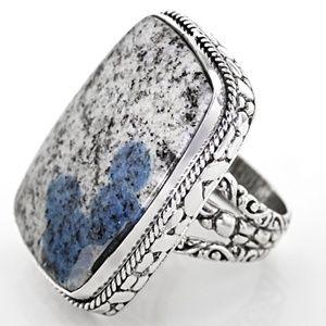 Multicolor Azurite In Granite Silver Ring